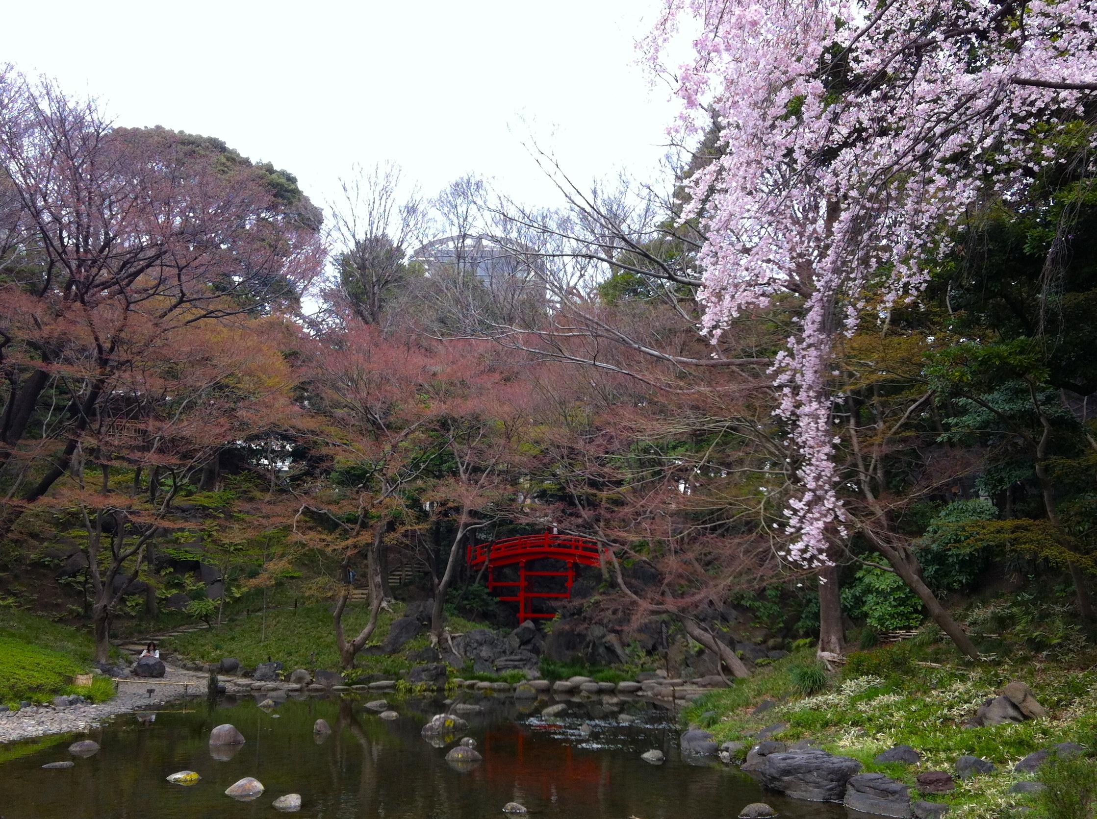 the red lacquer bridge in koraku en garden
