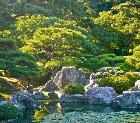 A lovely garden with a koi pond is on the grounds...