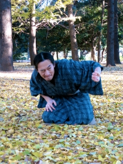 Other performers hone their skills in the park, like actor Hiroyuki Ootomo, who performs rakugo – traditional Japanese storytelling.