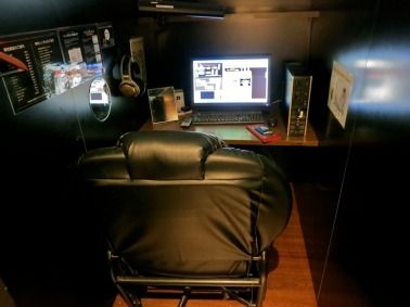 ...lead to the net café's cubicles, where anyone can go online in privacy...