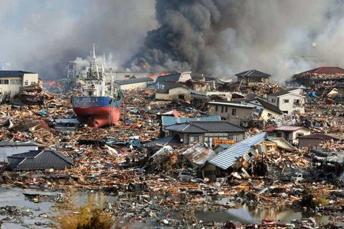 This is a photo of the destruction after the March 2011 tsunami in Tohoku. The surge lifted huge boats and dropped them far inland.