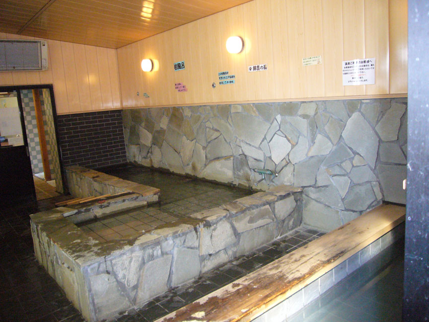 At the doggie hot spring resort, dog-sized soaking tubs are just like the ones at a human onsen.