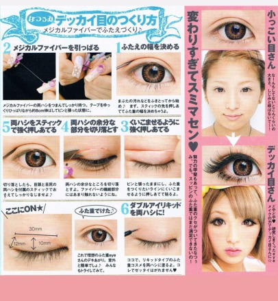 Japanese eyes don't naturally have a fold above the eyelid, so many girls glue them to get that wide-eyed innocent look.