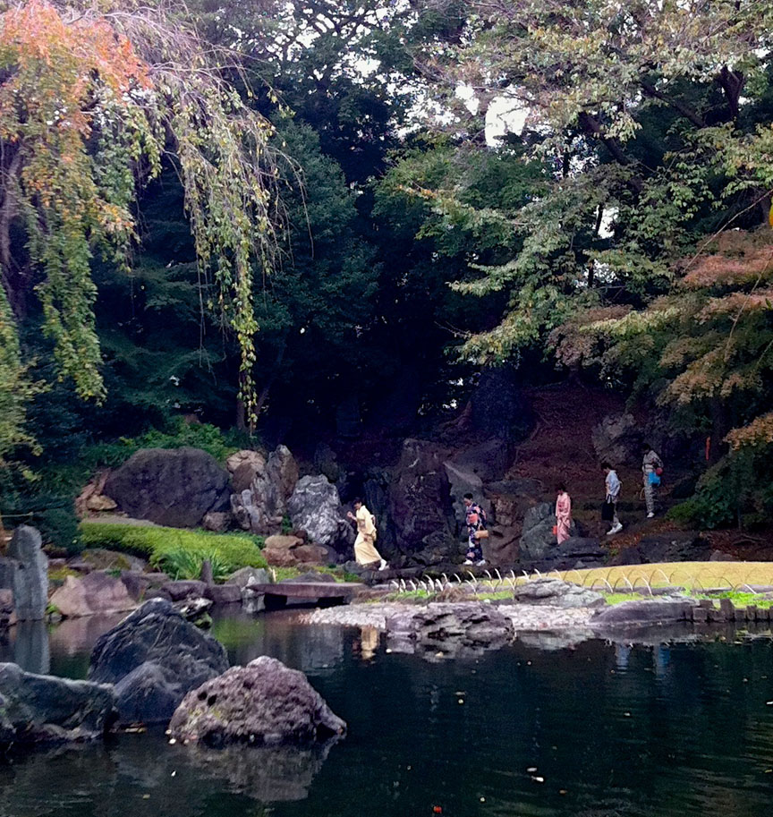 There's a lovely koi pond, surrounded by a classic Japanese garden.