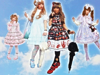 "Sweet Lolitas dress in pastels or prints with ""sweet"" designs."