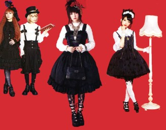 Gothic Lolitas dress exclusively in black and white, but with ruffle and bow designs like Sweet Lolitas.