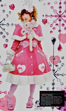 A pink Lolita, dressed for winter.