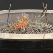 Incense is burned for the dead at Buddhist wakes and funerals.