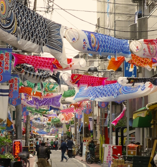 Carp flags school over the shopping street in Kameido