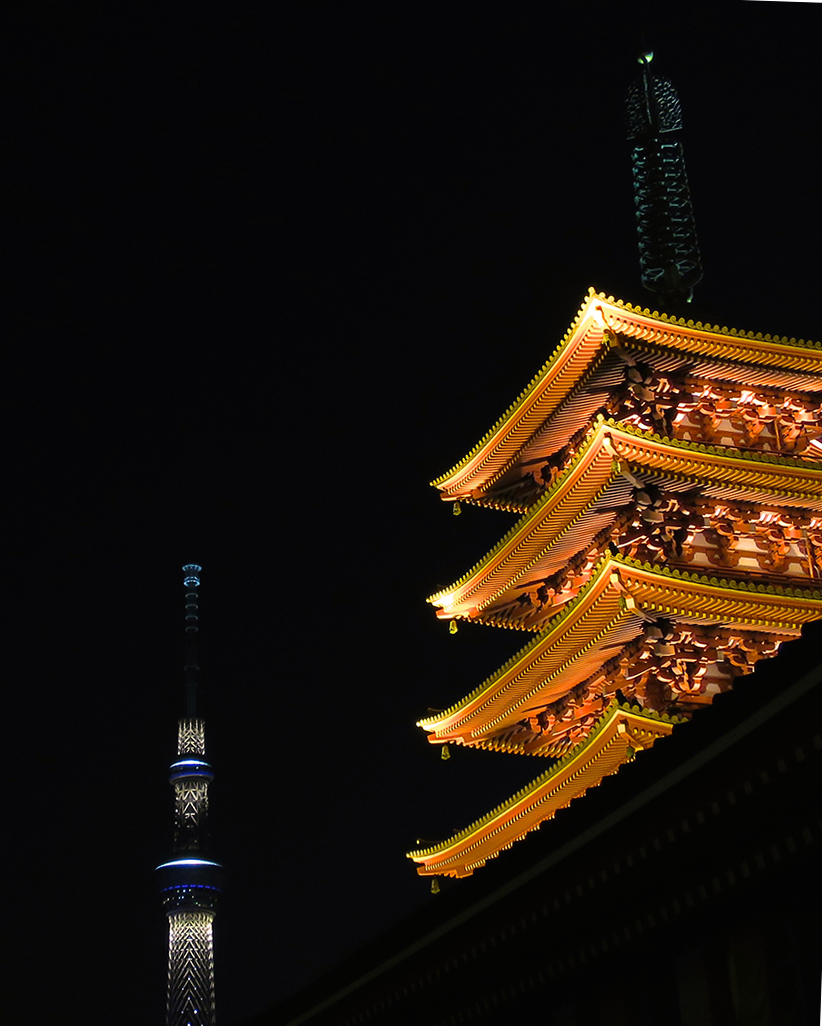 Old meets new: the five-story pagoda and Skytree, together