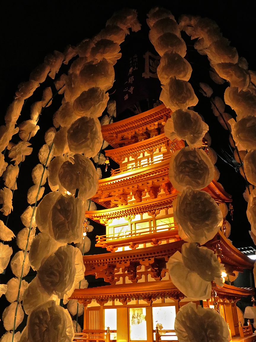 Intricately constructed wooden models of each participating temple glowed with inner light, festooned with garlands of paper flowers.