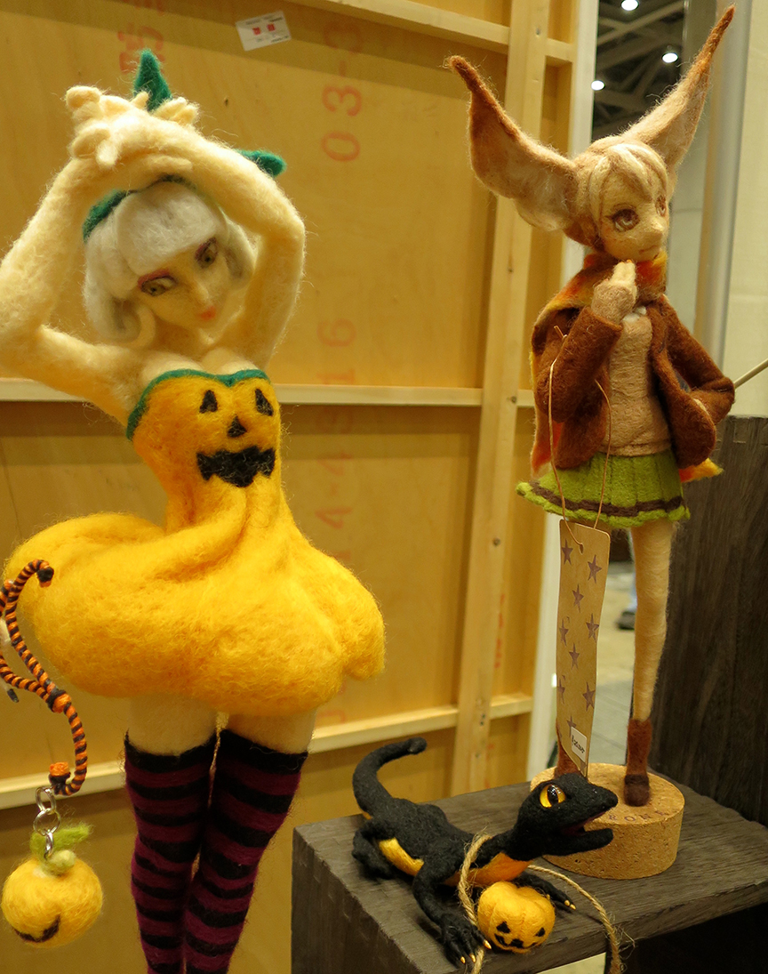 Elfin anime-style figures, mind-bogglingly crafted from felt.