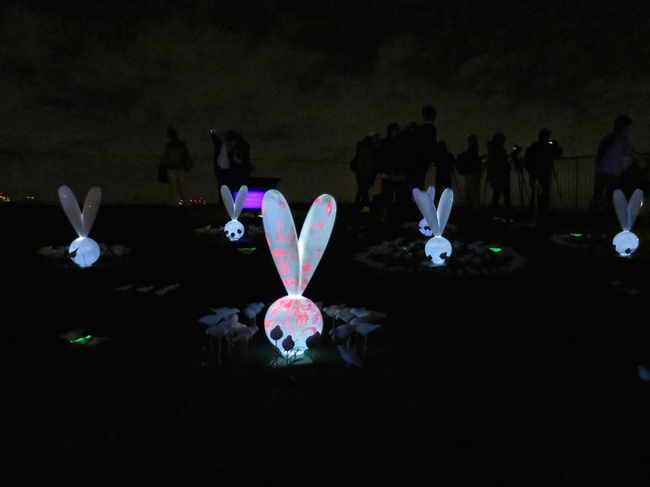 A garden of neon goth bunnies springs up in the middle of a lawn.
