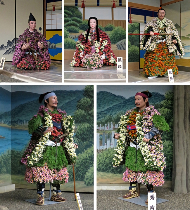 Life-sized historical figures, made from...chrysanthemums!