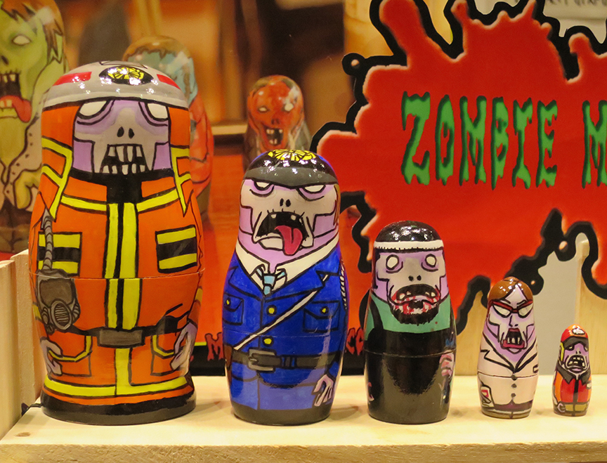 Handpainted zombie matryoshka dolls.