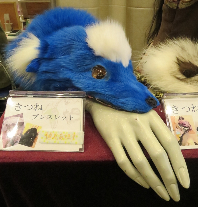 Maybe you didn't know you needed a blue fox fur bracelet, that can also be worn as a hat, but you do, trust me, YOU DO. Kaze-taka