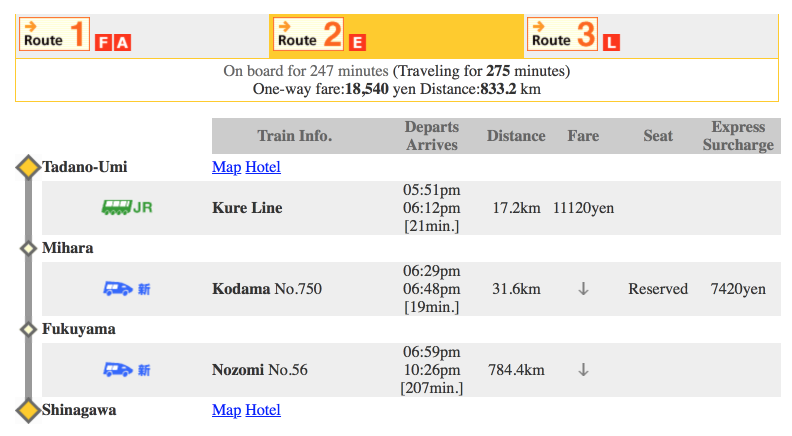 The Kure Line doesn't run as often as trains in Tokyo. If you're planning to come back at a different time, check the schedule below.