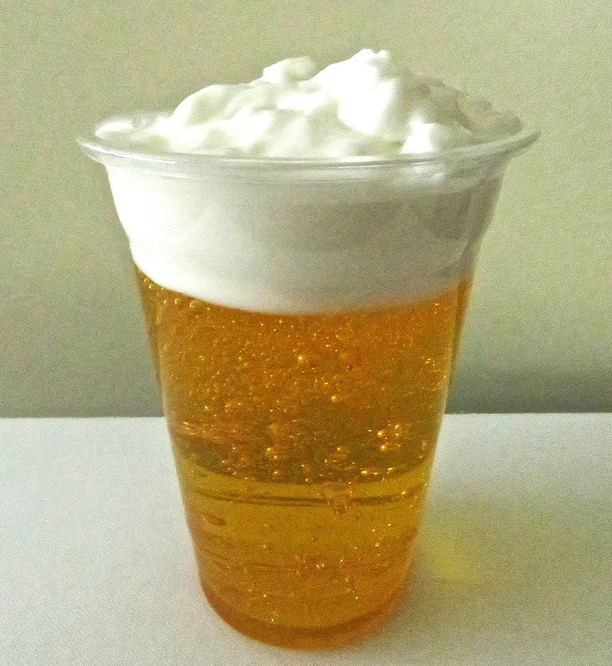 So...mine kinda looks like beer with whipped cream on top. (Of course, weirder food concoctions have trended in Japan, so this little project could turn out to be a success after all, due to its excellent trolling potential...)