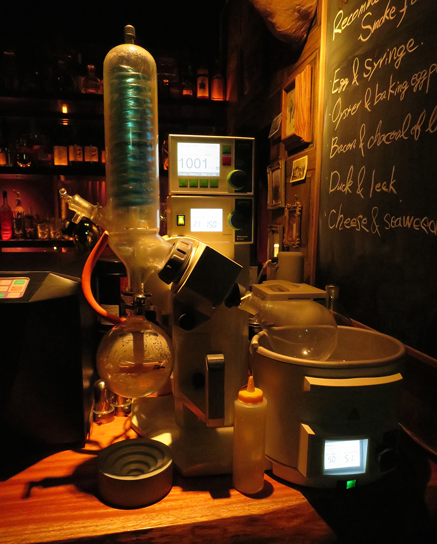 This is the mythical Rotovaper! It distills flavors from all kinds of food, which are then blended with various alcohols to make them taste like everything from foie gras to bamboo leaf.