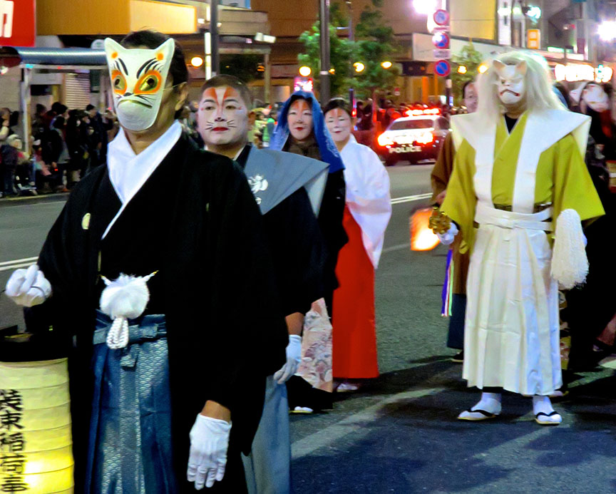 The many faces of Japan's most elusive trickster are on display, including Mr. Giant Scary Fox there, in the white hakama.
