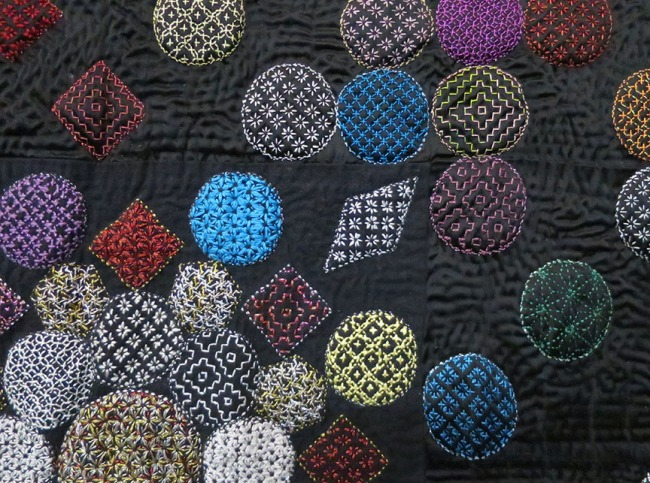"...hand-embroidered, using traditional Japanese sashiko techniques. O_O (""Flower Embroidery"" by ??)"