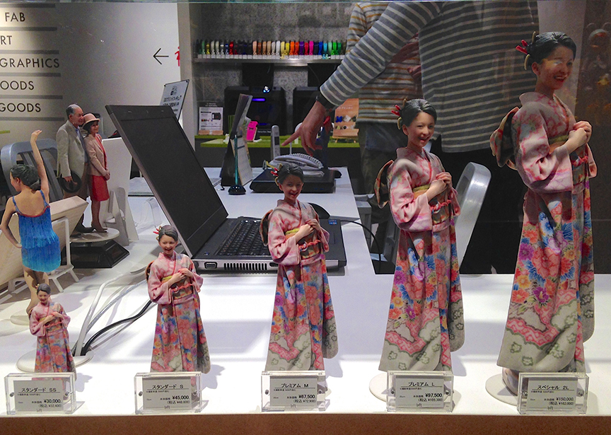 After you get your 3D photo snapped, you can get an army of yourself 3D printed – jumbo size for your mom, dog toy size for your pooch. (Shibuya Loft)