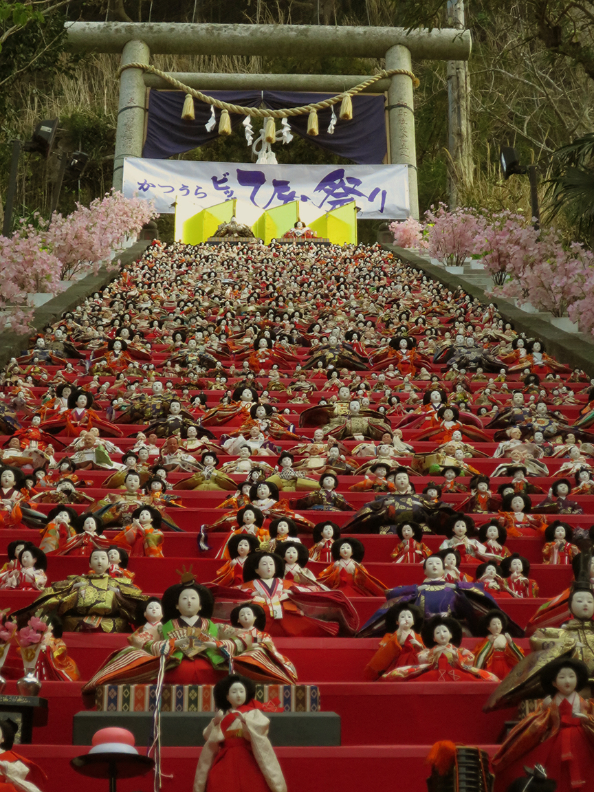 The most famous display is at the local shrine, where the dolls are set out every morning and put away every night by volunteers