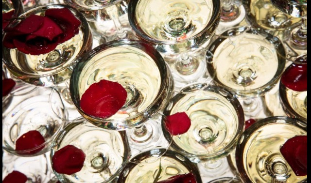 Champagne glasses and rose petals