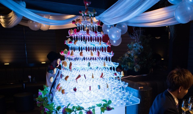 Champagne tower at Japanese host club