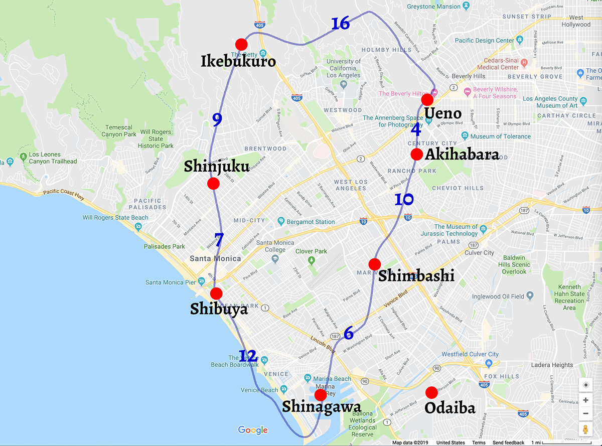 LA map with Yamanote line