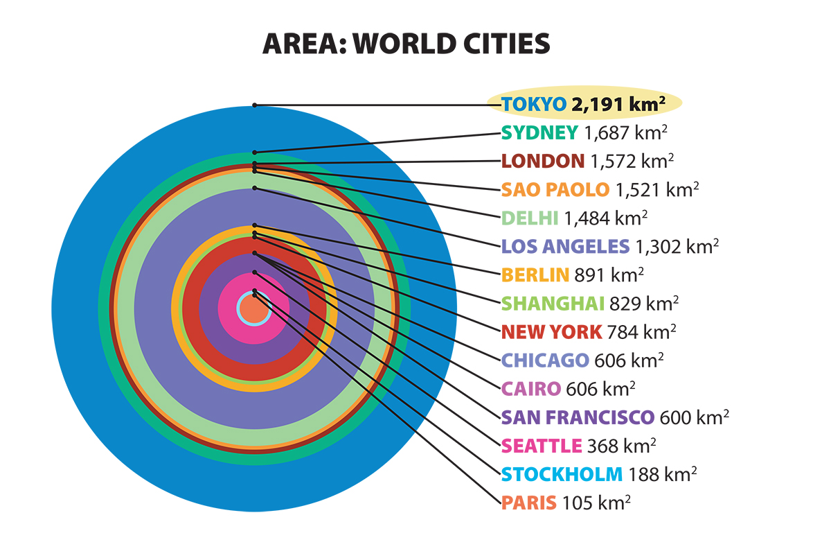 Graphic comparing world cities areas