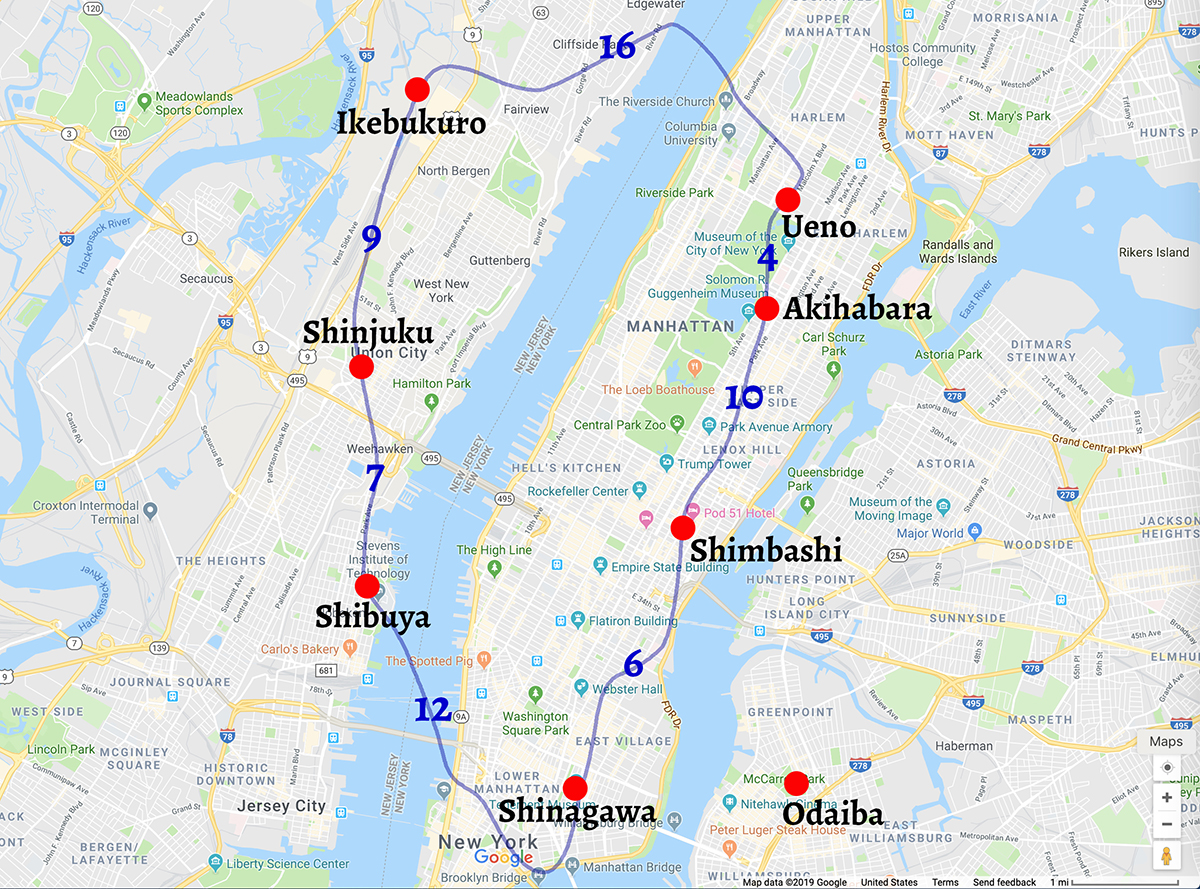 New York map with Yamanote line