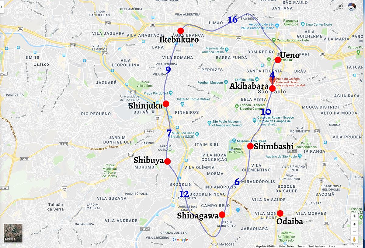 Sao Paolo map with Yamanote line