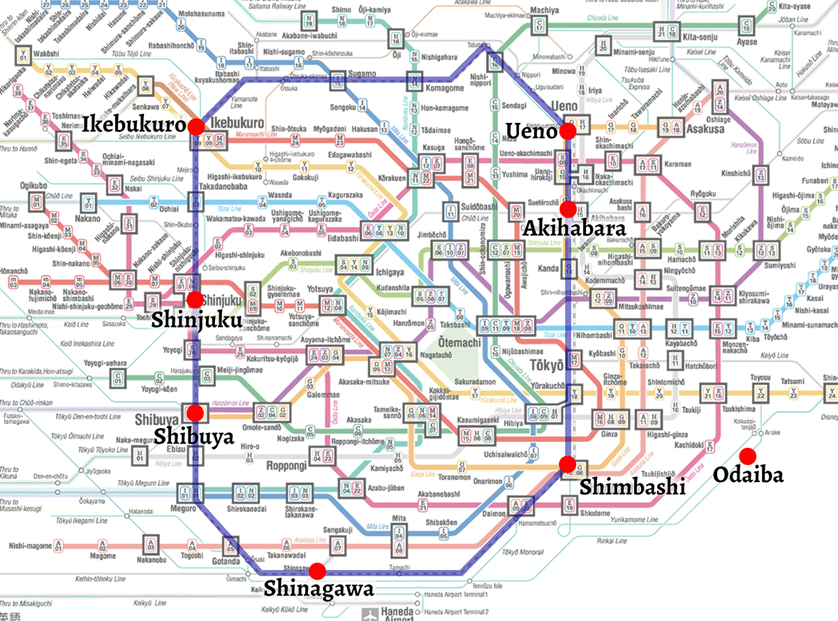 Tokyo subway map with Yamanote line