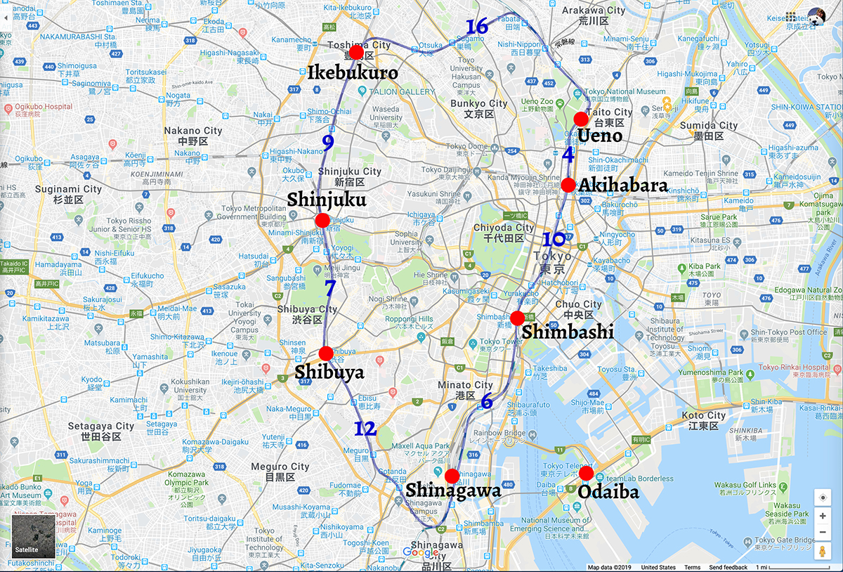 Tokyo map with Yamanote line superimposed and time between main stations