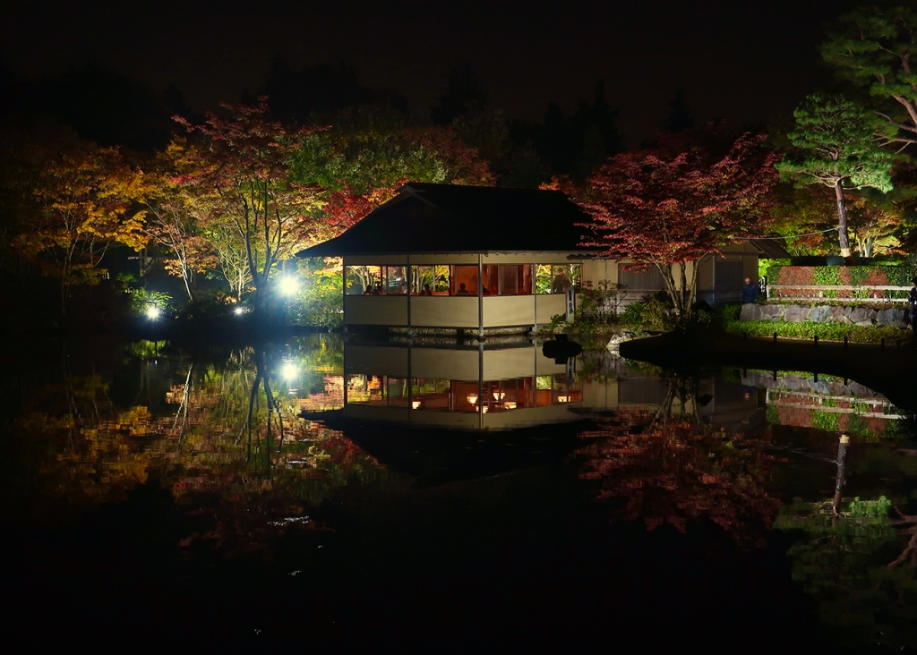 Tea house lit up at night with autumn leaves reflecting in pond at Showa Kinen Park