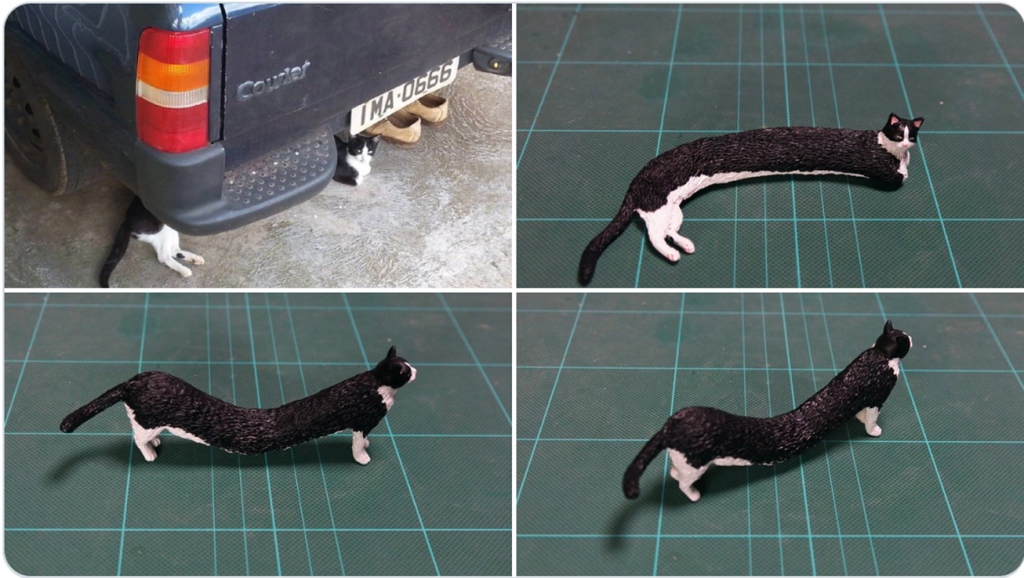 @Meetissai sculpture of imaginary long cat standing
