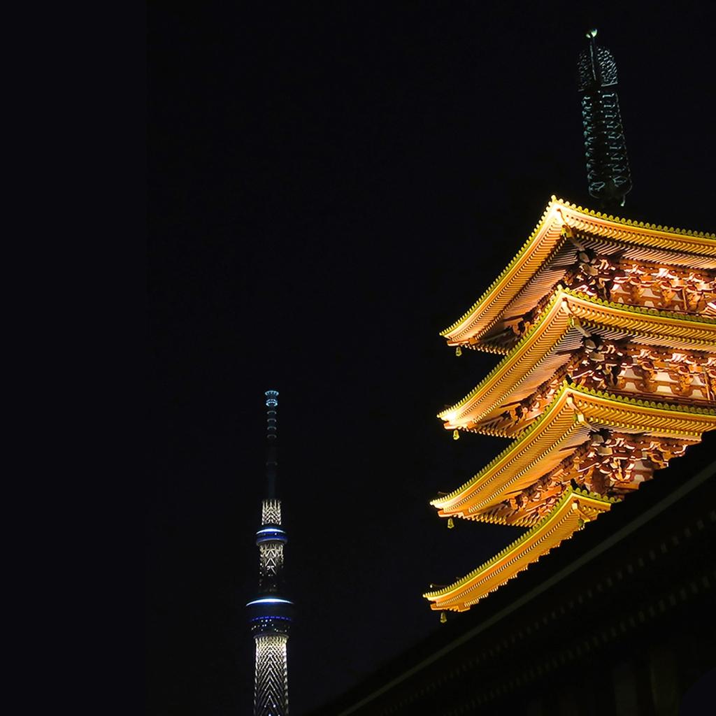 Senso-ji pagoda and Skytree lit up at night