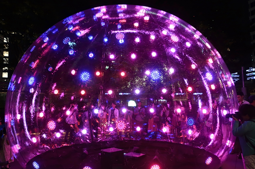 Lighted dome art piece at Roppongi Art Night