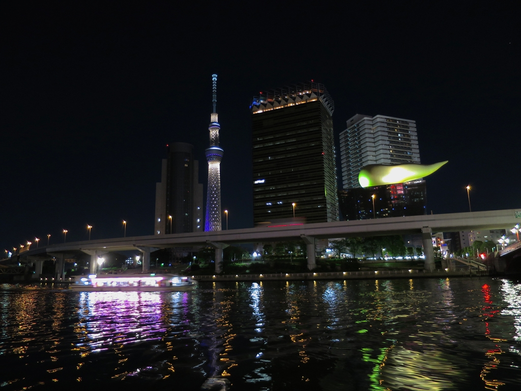 The Sumida River at night with skytree and a pleasure boat