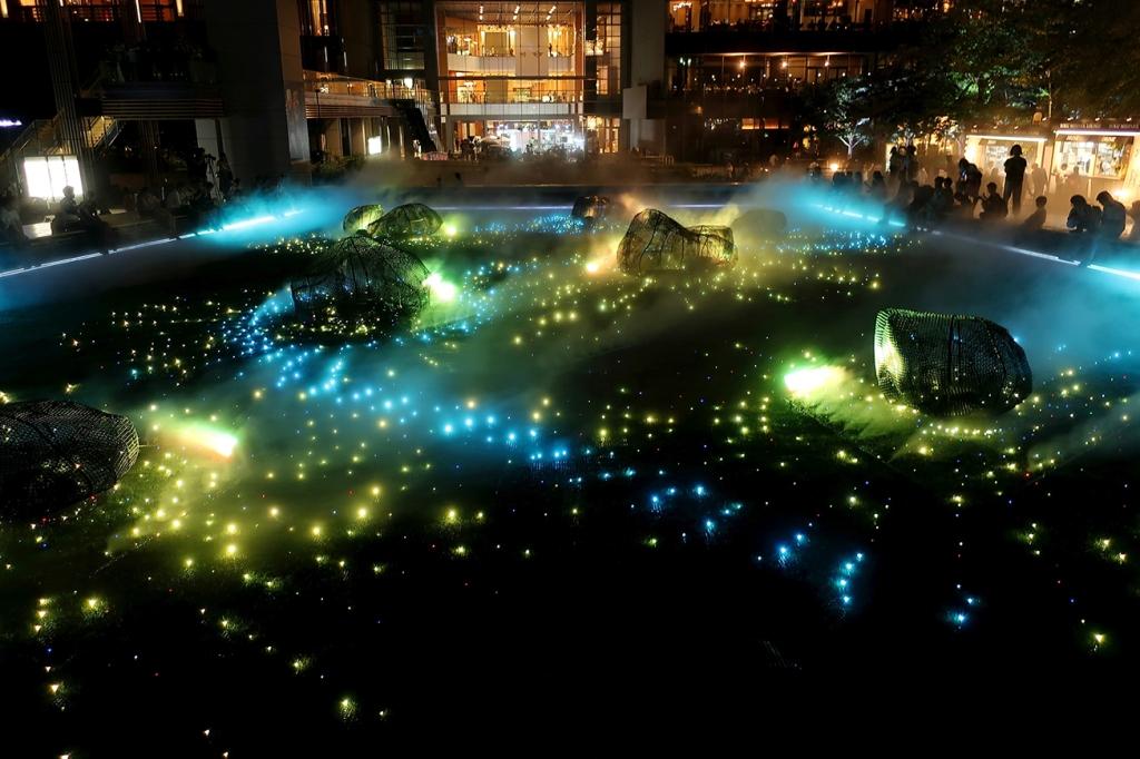 Fog and rock garden summer illumination at Tokyo Midtown