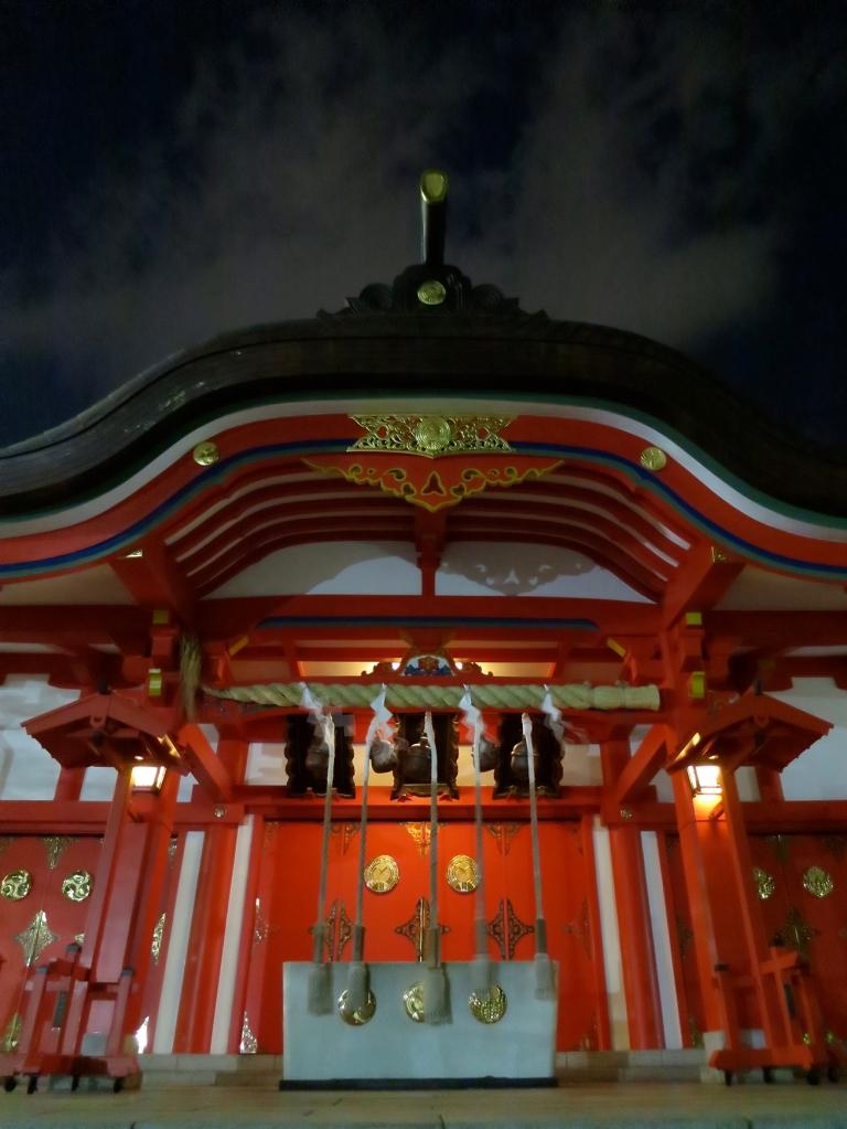 Hanazono shrine lit up at night