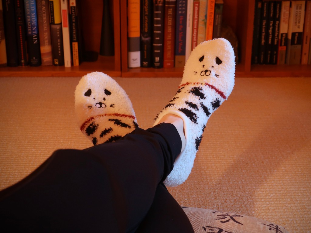 Wearing fluffy Japanese socks while reading