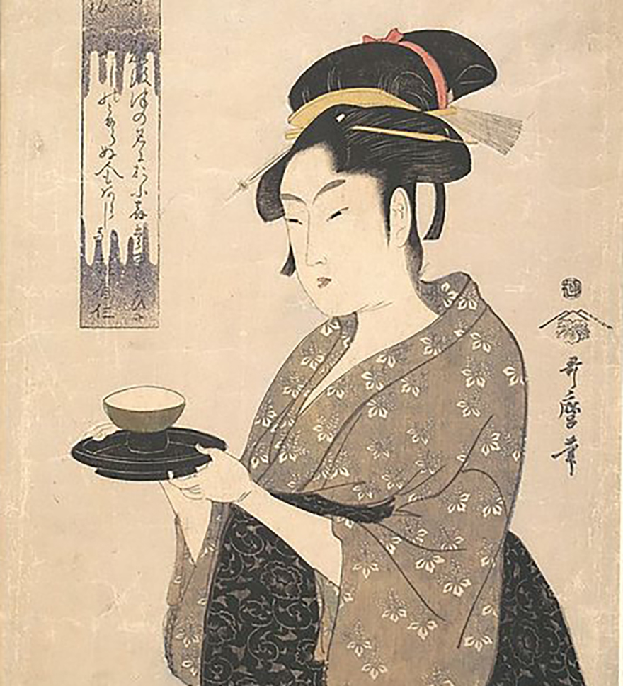 Woodblock print of woman looking disappointed in a bowl of rice