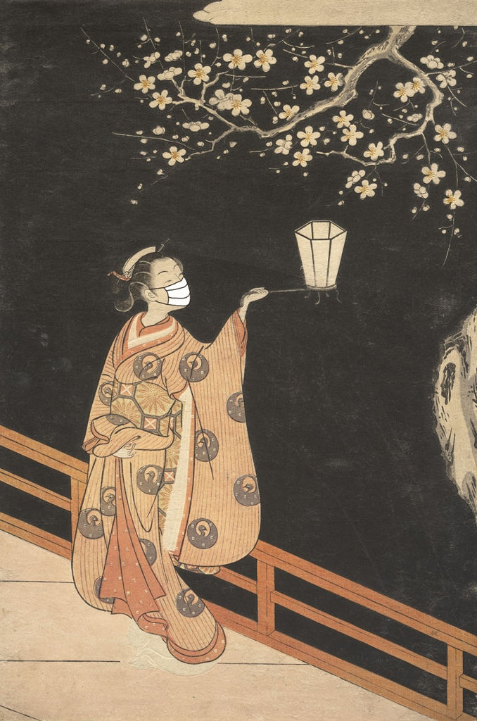 Woodblock print of woman wearing  mask looking at plum blossoms