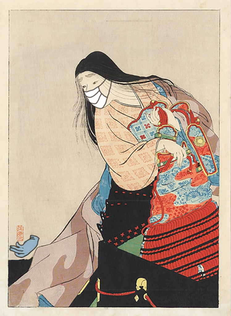 Woodblock print of woman wearing  mask looking at discarded rubber glove on the ground