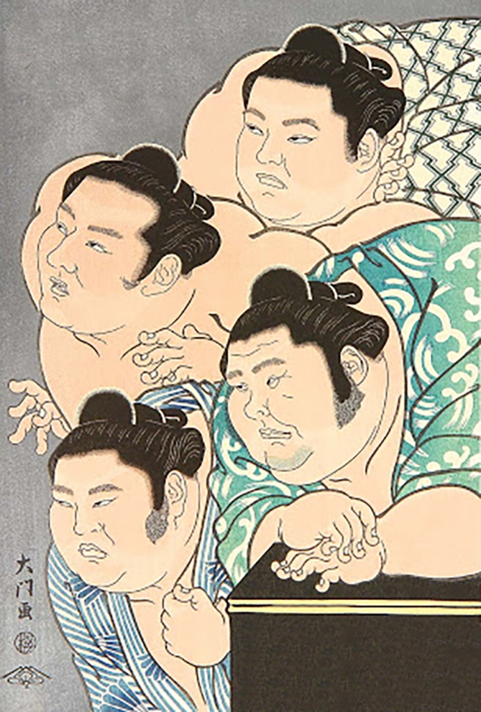 Four sumo wrestlers looking disapproving