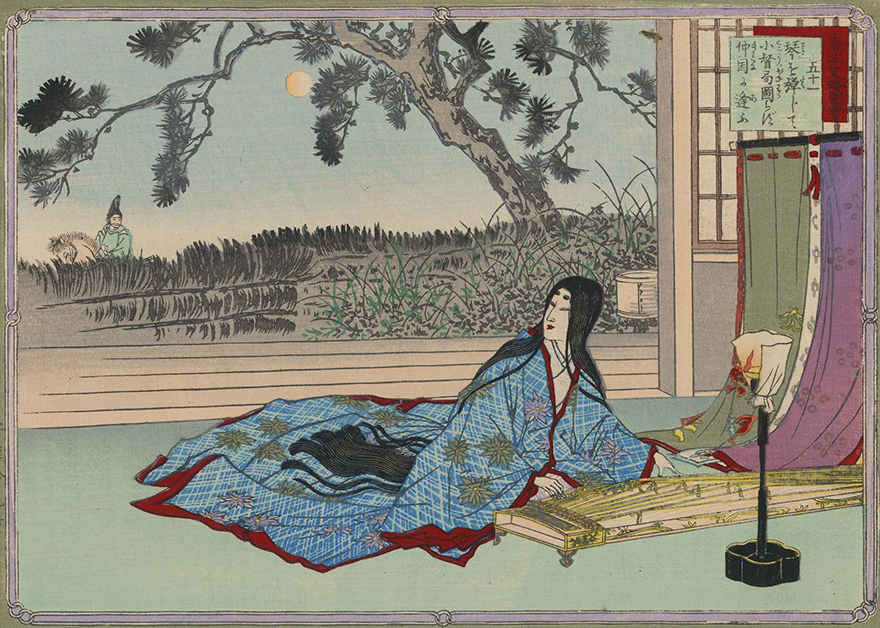 Woodblock print of woman playing the koto gazing longingly at a man riding by outside on horseback