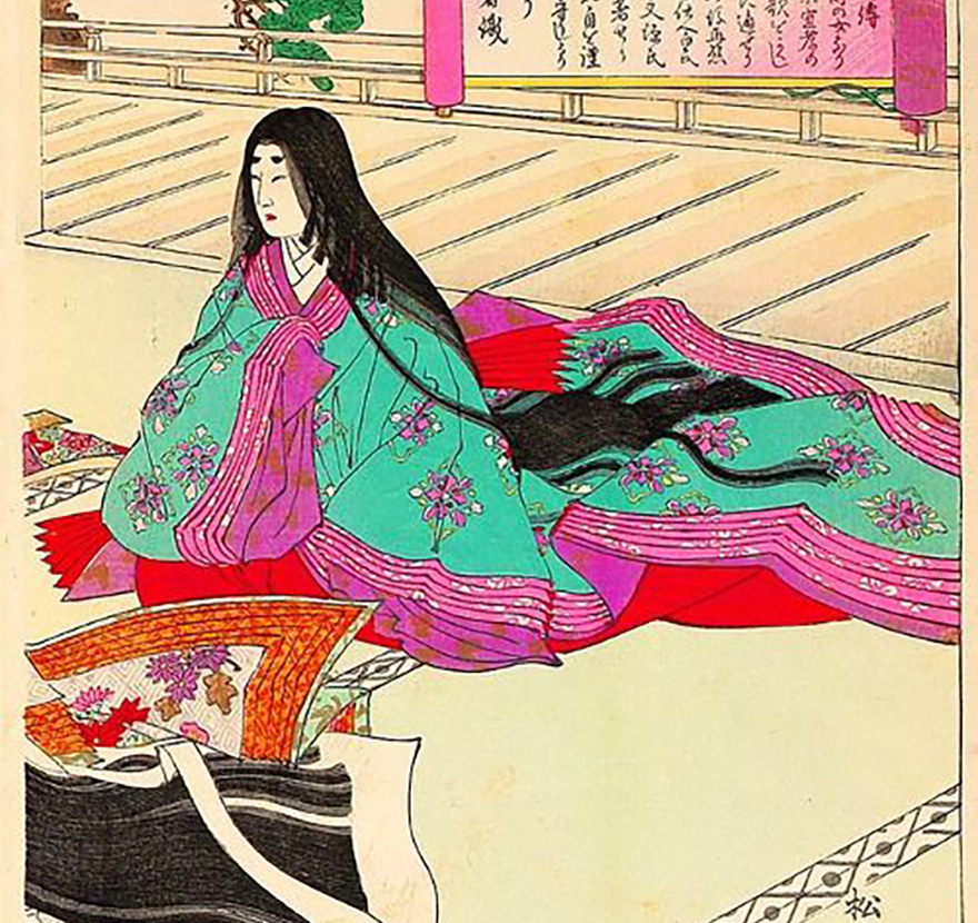 Woodblock print of woman wearing  jinihitoe, surrounded by unwrapped parcels, looking disappointed