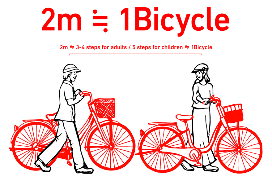 Graphic showing two meters of social distance is equal to one bicycle